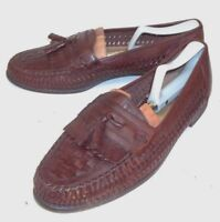Giorgio Brutini Mens Shoes Loafers US 10.5 D Brown Woven Tassels Kiltie 2328