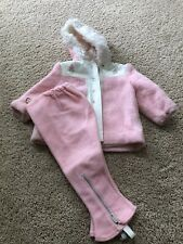 Vintage 70's Baby Girl Snow Jacket W/Matching Stirrup Pants Bell Bottoms Pink