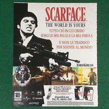 (V70) SCARFACE LOCANDINA PLAYSTATION FILM PUBBLICITA' RITAGLIO CLIPPING 30x24cm