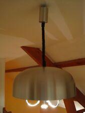 Lustre Suspension Vintage Moderniste OVNI Inox Brossé métal chrome Design 1970