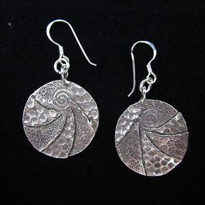 Fine Fashion Earrings Hill tribe Genuine silver karen tribal Spiral circle auc49