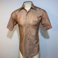 Vtg 50s 60s SEARS Best Dress Shirt Brown Mid Century Mod Perma Prest MENS 15.5