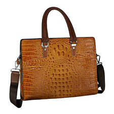 Faux Tan Leather Crocodile Print Mens Leather Handbag Retro Shoulder Laptop Bag
