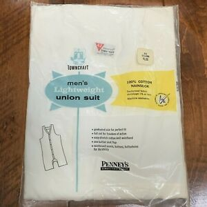 Vintage Union Suit Towncraft Penney's Size 42 Lightweight 100% Cotton In Package