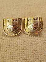 "1980's Laurel Burch Gold Mask Man pierced earrings  3/4"" 12K Old Filled posts"