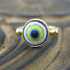 Handmade Hammered Band Round Blue Evil Eye Ring 24K Gold Over Sterling Silver