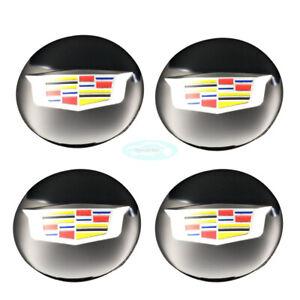 4pcs 55mm New Black Car Wheel Center Hub Caps Emblem Badge Sticker For ATS CTS