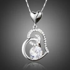 Damen Halskette 925 Silber versilbert mit Herzanhänger 42 cm, inkl. Schmuckbox
