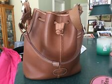 RARE  belting leather dooney bourke brown leather preppy buckeT bag  VERY CLASSY
