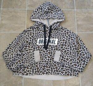 H&M Womens Divided Original Crop Short Cute Cheetah print Sweatshirt Hoodie