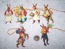 Easter~Primitive~Vintage~ Bunny~Hand Cut~Linen Cardstock~Gift~Hang~Tags~ Ornies