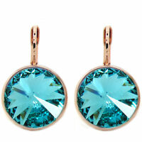 Round Bella Rose Gold Plated Turquise Earrings Made with SWAROVSKI® Crystals