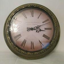 "Edinburgh Clock Works London England 14"" Wall Clock Roman Numerals Bronze Finish"