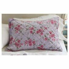 ONE Simply Shabby Chic Linen Blend Purple Rose Quilted Standard Sham NEW (HAVE 2