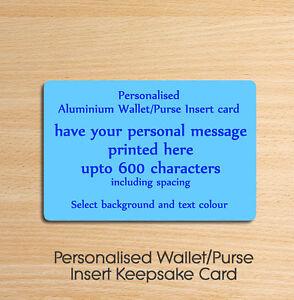 Personalised Metal Aluminium Wallet Insert Card - Ideal Keepsake Gift Blue