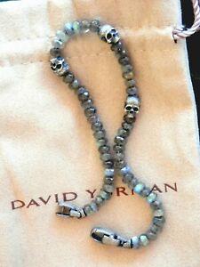 David Yurman Spiritual Beads Skull Station 5mm Bracelet in Labradorite $600
