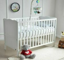 MCC Wooden Baby Cotbed & Water repellent Mattress - White