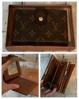 Vintage Louis Vuitton French Purse Wallet Kiss Lock Mirror Bifold Brown w/ Box