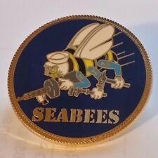 "US Navy ""SEABEES""  1.5 inch Large pin Double Post Butterfly Clasp"