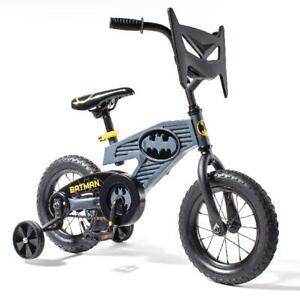 "DC Comics Batman 12"" Bike Child Boys Kids Toddler Bicycle With Face Plate Black"
