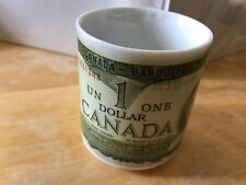Canada Mug ~One Dollar Bill 1973 ~Queen Elizabeth II ~Money Mug ~Canadian