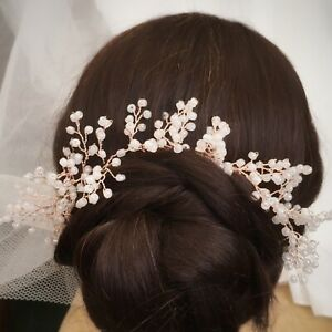 Wedding Hair Vine Tiara Rose Gold  Baby's Breath Gypsophila Bridal Headpiece UK