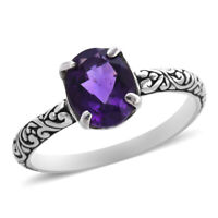 BALI LEGACY 925 Sterling Silver Amethyst Solitaire Ring Jewelry Size 7 Ct 1.6