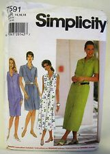 Simplicity Sewing Pattern 7591 Misses Button Front Shirt Dress R 14 16 18