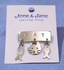 Anne & Jane Sterling Silver Solid 925 Cat Face Dangling Fishes Designer Brooch
