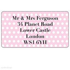 Personalised Spotted Pink Address Stickers Moving House Home Labels Seals - N194