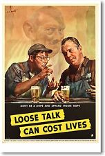 Loose Talk Can Cost Lives - NEW Vintage Reprint POSTER
