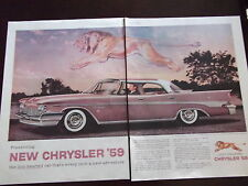 1959 Chrysler New Yorker Lion Hearted 2 Full Page Automobile Advertisement