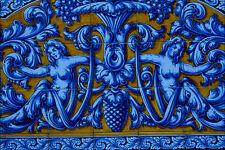 733007Two Blue Mermaids On Orange Background Talavera Spain A4 Photo Print
