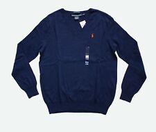 Ralph Lauren Women's Soft Cotton-Linen Boyfriend V-neck Sweater in Size M  Navy