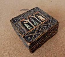 Antique Eastern European Icon Gilded box Applied Plaster decoration 8 x 8 x 4 cm
