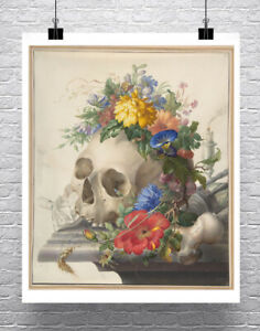 Human Skull Still Life With Flowers Fine Art Giclee Print on Canvas or Paper