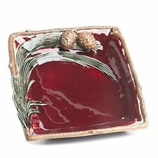 Large Burgundy Ceramic Pinespray Decorative Plate with Faux Ceramic Twig Trim