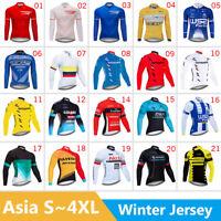 Mens Cycling Jersey Jacket Thermal Bike MTB Tight Jacket Team Tops Winter Fleece