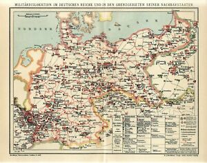 1910 MILITARY DEPLOYMENTS GERMANY BERLIN RUSSIA POLAND WARSAW Antique Map dated