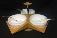 Corning Gemco Pyrex Corelle Butterfly Gold Lazy Susan Server With Spoons