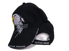 Native American Eagle Indian Native Pride Shadow Black Baseball Cap Hat (RAM)