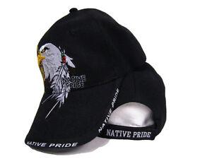 Native American Eagle Indian Native Pride Shadow Black Baseball Cap Hat (RAM)