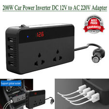 200W Car Auto Power Inverter DC 12V to AC 220V Adapter w/ 4 USB Socket Charger