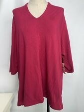 NWT Coldwater Creek 2X Women's Blouse Pink Flute Neck Tee V-Neck Stretchy