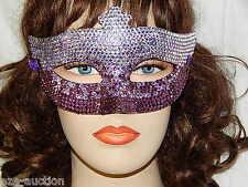 Party Rhinestone Crystal Masquerade Silver Purple Mask Costume