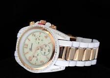39mm Lady's Large Face Rose Gold Tone/White Cz Bezel Chrono Look Quartz Watch