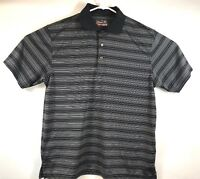 Grand Slam Performance Golf Polo Mens Size Large Black Striped A11