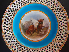 Antique c 1879 Minton by Henry Mitchell Fox Hunts Duck Reticulated Cabinet Plate