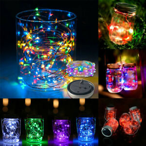 1/2M 20 LED Solar Power Mason Jar Lid Fairy Light Garden Deck Party Night Lights