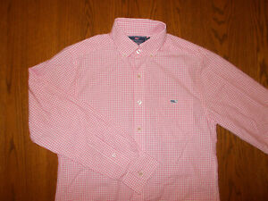 VINEYARD VINES LONG SLEEVE PINK CHECK BUTTON TUCKER SHIRT MENS SMALL EXCELLENT